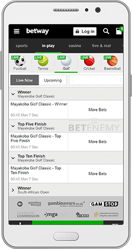 Betway mobil livebetting för Android